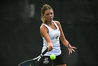Bentonville's Maddie Bynoe hits, Monday, October 11, 2021 during the 6A state girls and boys tennis tournament at Memorial Park in Bentonville. Check out nwaonline.com/211012Daily/ for today's photo gallery. <br /> (NWA Democrat-Gazette/Charlie Kaijo)