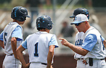 Centennial Coach Charles Cerrone talks to, from left, Bryce Rheault, Cole Moreno and Austin Kryszcuk during an NIAA DI baseball game against Galena at Bishop Manogue High School in Reno, Nev., on Thursday, May 19, 2016. Cathleen Allison/Las Vegas Review-Journal