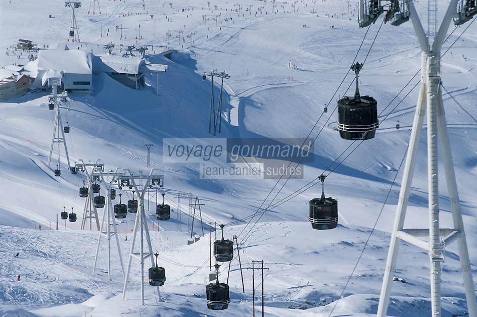Europe/France/Rhône-Alpes/38/Isère/l'Alpe-d'Huez: Pistes et télécabines des Marmottes