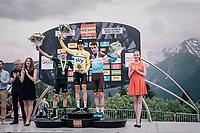 final 2018 Dauphiné GC podium:<br /> 1/ Geraint Thomas (GBR/SKY)<br /> 2 / Adam Yates (GBR/Mitchelton-Scott)<br /> 3/ Romain Bardet (FRA/AG2R-La Mondiale)<br /> <br /> Stage 7: Moûtiers > Saint-Gervais Mont Blanc (129km)<br /> 70th Critérium du Dauphiné 2018 (2.UWT)
