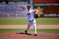 Inland Empire 66ers relief pitcher Austin Warren (10) during a California League game against the Modesto Nuts on April 10, 2019 at San Manuel Stadium in San Bernardino, California. Inland Empire defeated Modesto 5-4 in 13 innings. (Zachary Lucy/Four Seam Images)