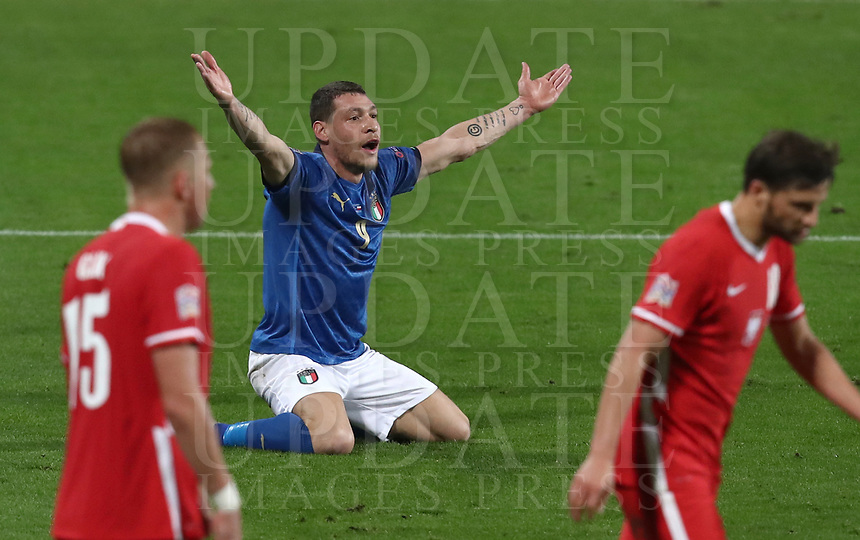 Football: Uefa Nations League Group A match Italy vs Poland at Mapei stadium, Città del Tricolore in Reggio Emilia, on Novemner 15, 2020.<br /> Italy's Andrea Belotti (c) reacts during the Uefa Nations League match between Italy and Poland at Mapei  stadium  città del Tricolore in Reggio Emillia, on November 15, 2020. <br /> UPDATE IMAGES PRESS/Isabella Bonotto