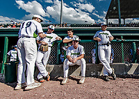 20 June 2021: Members of the Vermont Lake Monsters await the start of play outside the dugout prior to a game against the Westfield Starfires at Centennial Field in Burlington, Vermont. The Lake Monsters fell to the Starfires 10-2 at Centennial Field, in Burlington, Vermont. Mandatory Credit: Ed Wolfstein Photo *** RAW (NEF) Image File Available ***
