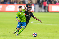 Los Angeles, CA - October 24, 2019.  Seattle Sounders FC defeated LAFC 3 - 1 in the Western Conference Championship match at Banc of California Stadium in Los Angeles.