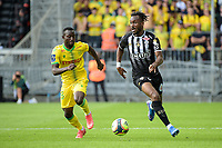 19th September  2021; Angers, Pays de la Loire, France; French League 1 football Angers versus Nantes;   Souleyman DOUMBIA of Angers breaks away from Jean Charles CASTELLETTO  of Nantes