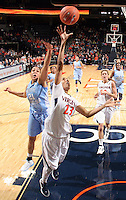 CHARLOTTESVILLE, VA- JANUARY 5: Ataira Franklin #23 of the Virginia Cavaliers shoots the ball during the game against the North Carolina Tar Heels on January 5, 2012 at the John Paul Jones arena in Charlottesville, Virginia. North Carolina defeated Virginia 78-73. (Photo by Andrew Shurtleff/Getty Images) *** Local Caption *** Ataira Franklin