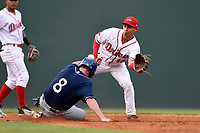 Second baseman Steven Reveles (18) of the Greenville Drive takes a late throw as Vince Fernandez (8) of the Asheville Tourists slides in safely in a game on Wednesday, August 2, 2017, at Fluor Field at the West End in Greenville, South Carolina. Greenville won, 1-0. (Tom Priddy/Four Seam Images)