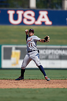 Detroit Tigers shortstop Trei Cruz (71) throws to first base during a Florida Instructional League intrasquad game on October 17, 2020 at Joker Marchant Stadium in Lakeland, Florida.  (Mike Janes/Four Seam Images)