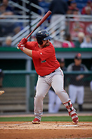 Lowell Spinners Joe Davis (55) at bat during a NY-Penn League Semifinal Playoff game against the Batavia Muckdogs on September 4, 2019 at Dwyer Stadium in Batavia, New York.  Batavia defeated Lowell 4-1.  (Mike Janes/Four Seam Images)