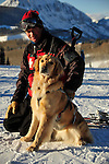 Crested Butte Ski Patrolman Russ Reycraft and his avalanche rescue dog, Betty, a blond lab.