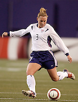 """USA's Christie Rampone. The US Women's National Team tied the Denmark Women's National Team 1 to 1 during game 8 of the 10 game the """"Fan Celebration Tour"""" at Giant's Stadium, East Rutherford, NJ, on Wednesday, November 3, 2004.."""