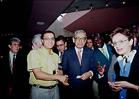 Ottawa, September 13, 1998 File Photo<br /> United Nation General Secretary ;  Dr. Boutros Boutros-Ghali meets with participants after speaking at the ``Mondial`` (a gathering of young francophone business people from all over the world), in Ottawa (Ontario, Canada) on september 13, 1998<br /> <br /> <br /> Photo by Pierre Roussel, © 1998