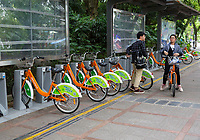 Guilin, China.  Bicycle Rental Stand.