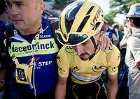 yellow jersey / GC leader Julian Alaphilippe (FRA/Deceuninck - Quick-Step) escorted out of the finish press-scrumm <br /> <br /> Stage 4: Reims to Nancy(215km)<br /> 106th Tour de France 2019 (2.UWT)<br /> <br /> ©kramon