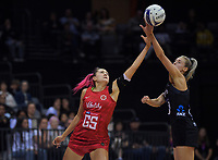 England's Georgina Fisher and NZ's Jane Watson compete for the ball during the Cadbury Netball Series Taini Jamison Trophy match between New Zealand Silver Ferns and England Roses at Claudelands Arena in Hamilton, New Zealand on Wednesday, 28 October 2020. Photo: Dave Lintott / lintottphoto.co.nz