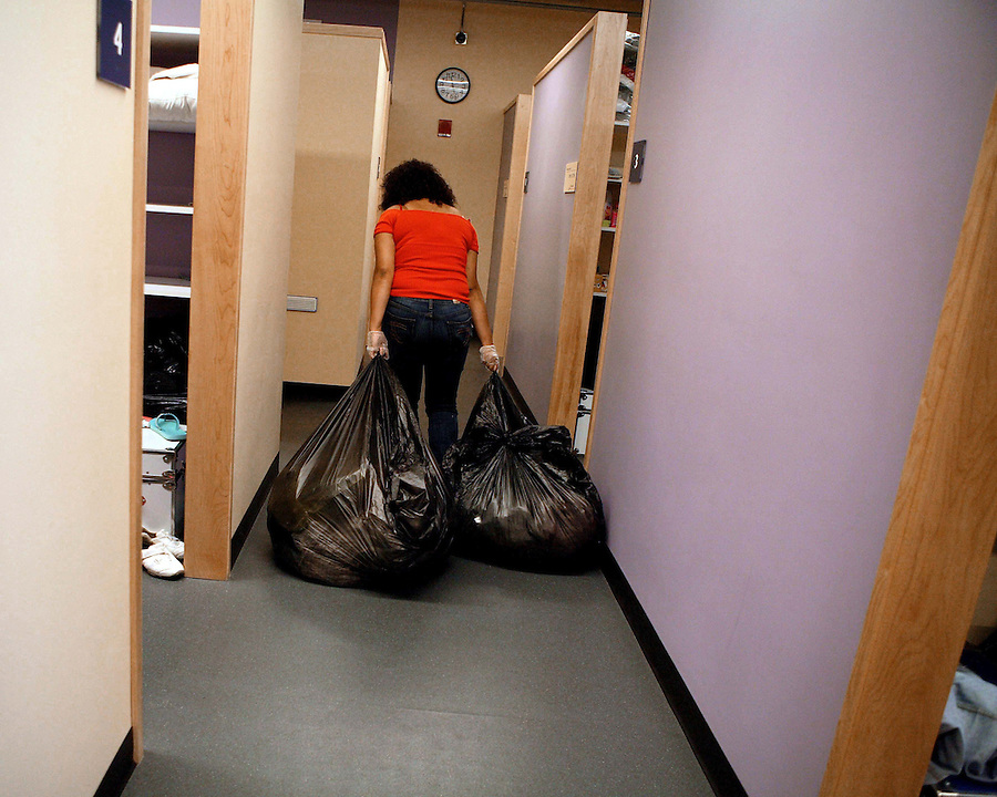 Sudden departure from the Women's shelter is not uncommon, and when this happens it is the job of staff to clean and dispose of personal items left behind.