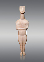 Cycladic Canonical type, Spedos variety female figurine statuette from Naxos or Keros. Early Cycladic Period II, (2800-2300 BC), 'Goulandris Master'.  Museum of Cycladic Art Athens,  Against Grey Background. <br /> <br /> <br /> The 'Goulandris Master' was named because of the N.P Goulandris collection which had a significat number of Cycladic figureines attributed to one sculptor. The characteristic traits of his work are : statues of 32 to 98 cm tall, precise incisions demarcating the neck, the abdomen and pubic triangle asv well as knees and spinal column, the statues have a rounded outline. Traces of colour were found on the statue.