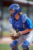Toronto Blue Jays catcher Reilly Johnson (7) during warmups before a Minor League Spring Training game against the Philadelphia Phillies on March 30, 2018 at Carpenter Complex in Clearwater, Florida.  (Mike Janes/Four Seam Images)