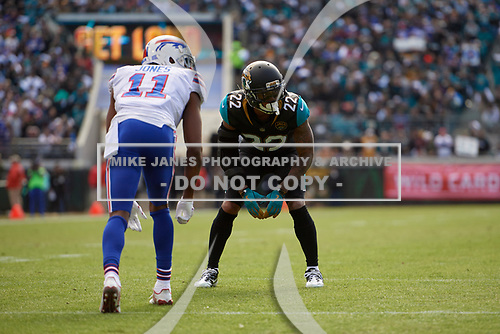 Jacksonville Jaguars defensive back Aaron Colvin (22) lines up against wide receiver Zay Jones (11) during an NFL Wild-Card football game against the Buffalo Bills, Sunday, January 7, 2018, in Jacksonville, Fla.  (Mike Janes Photography)