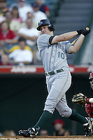 Jared Sandberg of the Tampa Bay Devil Rays bats during a 2002 MLB season game against the Los Angeles Angels at Angel Stadium, in Los Angeles, California. (Larry Goren/Four Seam Images)
