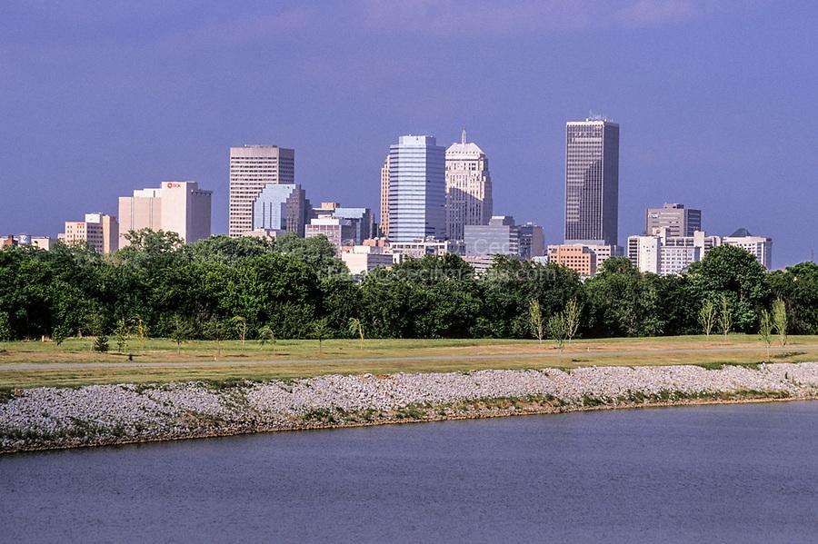 Oklahoma City, Oklahoma, USA.  Skyline.  Oklahoma River in Foreground.