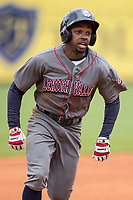 Lehigh Valley IronPigs outfielder Roman Quinn (2) runs to third base against the Toledo Mud Hens during the International League baseball game on April 30, 2017 at Fifth Third Field in Toledo, Ohio. Toledo defeated Lehigh Valley 6-4. (Andrew Woolley/Four Seam Images)