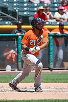 Jon Singleton (21) of the Fresno Grizzlies at bat against the Salt Lake Bees in Pacific Coast League action at Smith's Ballpark on June 14, 2015 in Salt Lake City, Utah.  (Stephen Smith/Four Seam Images)