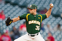 Baylor Bears relief pitcher Crayton Bare #35 delivers a pitch to the plate against the Houston Cougars in the NCAA baseball game on March 2, 2013 at Minute Maid Park in Houston, Texas. Houston defeated Baylor 15-4. (Andrew Woolley/Four Seam Images).