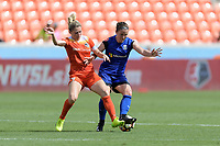 Houston, TX - Saturday May 27, 2017: Kealia Ohai (7) of the Houston Dash and Christine Nairn battle for control of the ball during a regular season National Women's Soccer League (NWSL) match between the Houston Dash and the Seattle Reign FC at BBVA Compass Stadium.