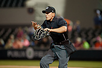 Umpire J.C. Velez during a Florida State League game between the Tampa Tarpons and Lakeland Flying Tigers on April 5, 2019 at Publix Field at Joker Marchant Stadium in Lakeland, Florida.  Lakeland defeated Tampa 5-3.  (Mike Janes/Four Seam Images)