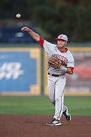 Casey Rodrigue #9 of the Indiana Hoosiers during a game against the Long Beach State Dirtbags at Blair Field on March 14, 2014 in Long Beach, California. Long Beach State defeated Indiana 4-3. (Larry Goren/Four Seam Images)