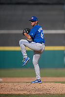 Toronto Blue Jays pitcher Graham Spraker (63) during a Florida Instructional League game against the Detroit Tigers on October 28, 2020 at Joker Marchant Stadium in Lakeland, Florida.  (Mike Janes/Four Seam Images)