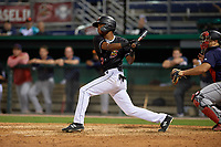 Batavia Muckdogs Brayan Hernandez (23) bats during a NY-Penn League game against the State College Spikes on July 1, 2019 at Dwyer Stadium in Batavia, New York.  Batavia defeated State College 5-4.  (Mike Janes/Four Seam Images)