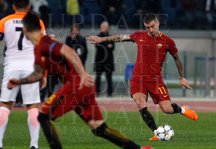 Roma s Aleksandar Kolarov kicks a free kick during the Uefa Champions League round of 16 second leg soccer match between Roma and Shakhtar Donetsk at Rome's Olympic stadium, March 13, 2018. Roma won. 1-0 to join the quarter finals.<br /> UPDATE IMAGES PRESS/Riccardo De Luca