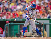27 July 2013: New York Mets outfielder Eric Young in action against the Washington Nationals at Nationals Park in Washington, DC. The Nationals defeated the Mets 4-1. Mandatory Credit: Ed Wolfstein Photo *** RAW (NEF) Image File Available ***