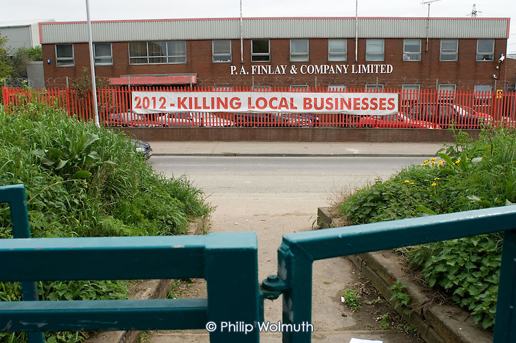 P.A.Finlay & Co, a construction company, is siuated on the site earmarked for the 2012 Olympic Games in the Lower Lea Valley, East London.  Many local businesses will be displaced to enable construction of the Olympic stadium and related facilities.