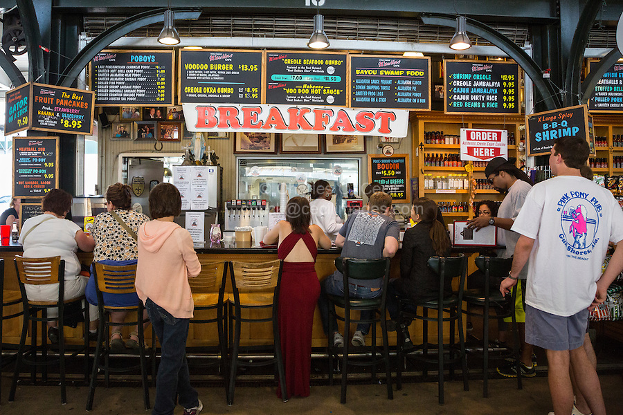 French Quarter, New Orleans, Louisiana.  Breakfast in the French Market: Cajun, Creole, and other Southern Dishes on the Menu.
