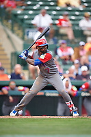 Dominican Republican third baseman Jose Reyes (7) at bat during a Spring Training exhibition game against the Baltimore Orioles on March 7, 2017 at Ed Smith Stadium in Sarasota, Florida.  Baltimore defeated the Dominican Republic 5-4.  (Mike Janes/Four Seam Images)