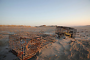 Lobster traps at sunrise on Hampton Beach, New Hampshire USA