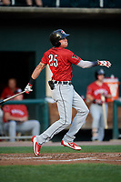Erie SeaWolves first baseman Dominic Ficociello (25) follows through on a swing during a game against the Harrisburg Senators on August 29, 2018 at FNB Field in Harrisburg, Pennsylvania.  Harrisburg defeated Erie 5-4.  (Mike Janes/Four Seam Images)