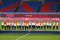 YOKOHAMA, JAPAN - AUGUST 6: Canada during the 2020 Tokyo Olympics Women's Soccer medal ceremony at International Stadium Yokohama on August 6, 2021 in Yokohama, Japan.