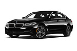 Stock pictures of low aggressive front three quarter view of 2021 BMW 5-Series 530e-Sport 4 Door Sedan Low Aggressive
