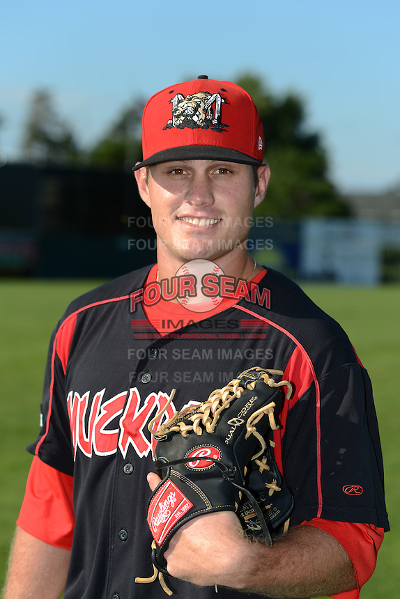 Batavia Muckdogs pitcher Tyler Kinley (26) poses for a photo before a game against the Williamsport Crosscutters on September 4, 2013 at Dwyer Stadium in Batavia, New York.  Williamsport defeated Batavia 6-3 in both teams season finale.  (Mike Janes/Four Seam Images)