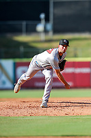 Rocket City Trash Pandas pitcher Kyle Molnar (37) delivers a pitch to the plate against the Tennessee Smokies at Smokies Stadium on July 2, 2021, in Kodak, Tennessee. (Danny Parker/Four Seam Images)