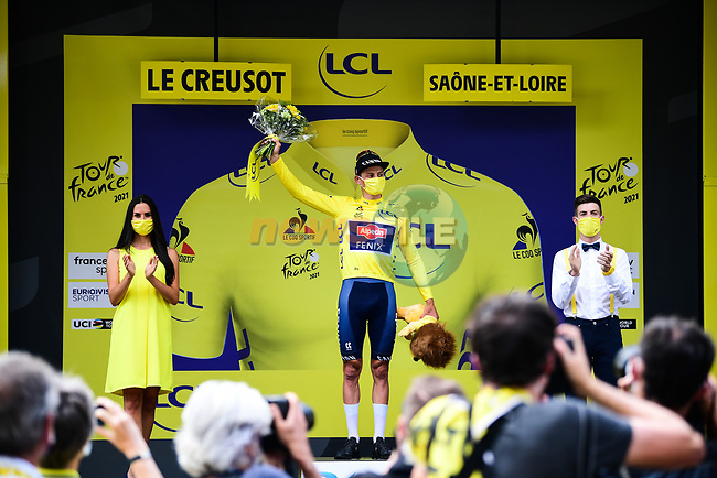 Race leader Mathieu Van Der Poel (NED) Alpecin-Fenix retains the Yellow Jersey at the end of Stage 7 of the 2021 Tour de France, running 249.1km from Vierzon to Le Creusot, France. 2nd July 2021.  <br /> Picture: A.S.O./Pauline Ballet | Cyclefile<br /> <br /> All photos usage must carry mandatory copyright credit (© Cyclefile | A.S.O./Pauline Ballet)