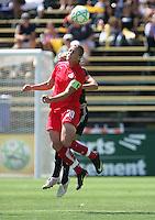 Abby Wambach heads the ball. FC Gold Pride defeated Washington Freedom 3-2 at Buck Shaw Stadium in Santa Clara, California on August 1, 2009.