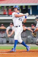 Bubba Starling (23) of the Burlington Royals follows through on his swing against the Danville Braves at Burlington Athletic Park on July 18, 2012 in Burlington, North Carolina.  The Royals defeated the Braves 4-3 in 11 innings.  (Brian Westerholt/Four Seam Images)
