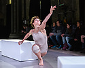 """Winchester, Hants, UK. 22.09.2018. Shobana Jeyasingh Dance perform """"Contagion"""", in the Great Hall, Winchester. """"Contagion"""" is directed and choreographed by Shobana Jeyasingh, with projection design by Nina Dunn, lighting design by Yaron Abulafia, and set and costume design by Merle Hensel. Contagion is co-commissioned by 14-18 NOW, the UK's arts programme for the First World War centenary.<br /> <br /> Contagion commemorates the 1918 Spanish Flu pandemic, which killed more people than the First World War itself. The piece is inspired by the nature and spread of the flu virus, the unseen enemy that mankind was battling within, while engaging in more conventional warfare in the world outside. The striking work of the Austrian artist Egon Schiele, who fell victim to the Spanish flu, forms a visual footnote to the piece.<br /> <br /> Set to an atmospheric soundscape, this dance installation with digital visuals echoes the scientific features of a virus – rapid, random and constantly shape-shifting. Eight female dancers contort and mutate as they explore both the resilience and the vulnerability of the human body.<br /> <br /> This is a standing performance presented in unusual venues, many with connections to the First World War. The dancers are: Vânia Doutel Vaz, Eva Escrich Gonzalez, Emily Pottage, Rachel Maybank, Estela Merlos, Avatâra Ayuso, Sunbee Han, Ruth Voon. Photograph © Jane Hobson."""