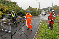 Pictured L-R: Superintendent Andy Moore of British Transport Police, Chief Inspector Chris Fraser of Dyfed Powys Police, Phil Kelly, root director for Network Rail Wales and Borders and Group Manager Richard Felton of Mid and West Wales Fire Service during a press conference near the scene of the train fire in Llangennech, Wales, UK. Thursday 27 August 2020<br /> Re: A freight train carrying diesel has derailed and burst into flames in Llangennech, near Llanelli, Wales, UK.<br /> People living nearby in Carmarthenshire, were evacuated but have since returned to their homes.<br /> Police declared a major incident, put a cordon in place and closed roads.<br /> The two workers who were on board the train have been accounted for and no injuries have been reported according  to the British Transport Police.