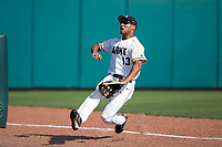 Army Black Knights left fielder Anfernee Crompton (13) can't quite catch up to this fly ball during the game against the North Carolina State Wolfpack at Doak Field at Dail Park on June 3, 2018 in Raleigh, North Carolina. The Wolfpack defeated the Black Knights 11-1. (Brian Westerholt/Four Seam Images)